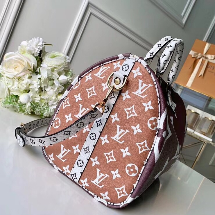 Louis Vuitton Monogram Canvas Speedy 30 Bandouliere Bag M44573 Tan-White-Apricot   bag